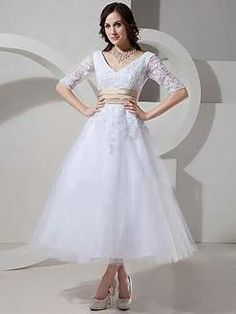 A-line V-neck Tea-length Tulle Affordable Wedding Dresses with Sleeves