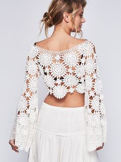Crochet crop top boho Bell sleeve Long sleeves wedding blouse