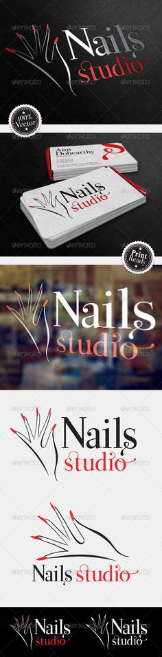 Nails Studio Logo #GraphicRiver Description Logotype designed for nails salon, makeup, beauty and wellness salons. Elegant, simple logo, 100% vector, easy to print on various media such as business cards, invitations, flyers, signs. Set includes: - Two versions of the logo - 3 source files (. Ai,. Psd,. Eps) - 1 pdf file - 1 high quality .jpg file Font used: Great Vibes by typeSETit: .fontsquirrel /fonts/great-vibes All source files are ready to open with the Adobe Photoshop CS and Adobe…
