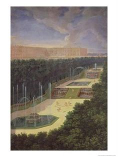 Giclee Print: The Groves of Versailles, Perspective View of the Three Fountains with Cherubs Raking and Watering by Jean Cotelle the Younger : 24x18in