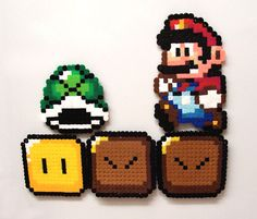 Super Mario World Perler & Hama Beads Melty Bead Patterns, Pearler Bead Patterns, Perler Patterns, Beading Patterns, Perler Bead Designs, Perler Bead Templates, Perler Beads, Hama Beads Mario, Super Mario