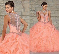 Wholesale Quinceanera Dresses - Buy Stunning Peach Organza Ball Gown Quinceanera Dresses 2015 Sheer Beads Crystal Draped Cheap Fashion Princess Dress Plus Size Hot Sale, $179.06 | DHgate.com