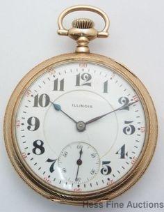 Stunning 16s Large 14k Gold Fancy Movement 17J Running Illinois Pocket Watch #Illinois