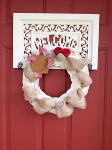 Front door country charm for just $5 burlap wreath, welcome sign, thrift store find www.rusticredneckdesigns.com