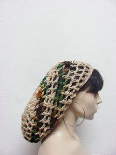 Hand crochet slouchy men / women / crochet snood / summer beanie / hair net / tam / linen woodsy