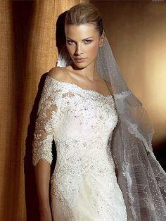 lace+and+satin+wedding+dresses   ... Wedding Dresses > Dramatic Mermaid Off-the-shoulder Satin Lace Wedding
