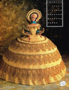 October 1991 Calendar Bed Doll Crochet Pattern Leaflet Annie's Barbie Clothes #AnniesAttic