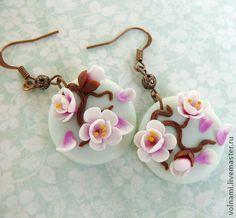 """""""Весна"""" серьги - сакура,серьги,цветы,серьги с цветами,весна,термопластика"""