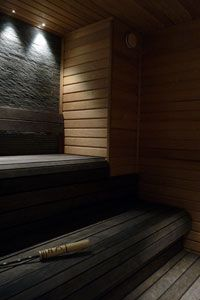 Sauna - makes me think of Gothic windows