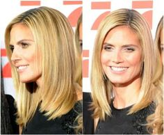 Heidi Klum -- shoulder-length cut with long layers and fringe along the sides of the face
