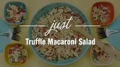 TRUFFLE MACARONI SALAD Ingredients: • ½ cup Just Mayo Truffle • 2 tablespoons white wine vinegar • 2 teaspoons Just Sweet Mustard • 1 tablespoon garlic, minced • 2 teaspoons lemon juice • ¼ cup parsley, chopped • 1 teaspoon salt • 1 teaspoon black pepper • 2 cups dried macaroni • 1 tablespoon olive oil • ½ cup red bell pepper, diced • ¼ cup bell pepper, diced • ¼ cup red onion, finely diced • ½ cup jicama, peeled and diced • 1 cup tomato, seeded and diced