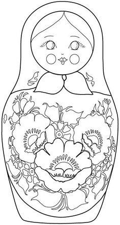 Russian Nesting Doll coloring sheet