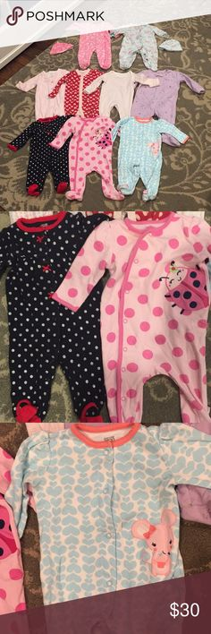 6 Month Pajamas 9 outfits and 2 coordinating beanie caps! All in excellent condition! The only slight flaws are some extremely minor wear on the footies (from standing) and some extremely minor stains around just a couple necklines (if any). Bundle with my other listings and save! Same or next business day shipping! Pajamas Pajama Sets