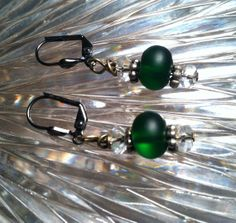 Green Glass with Crystal Bead Earrings by TripIntoLight on Etsy, $6.00