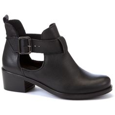 Limited Black Cut Out Leather Ankle Boots ($92) ❤ liked on Polyvore