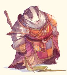 The Redwall series- especially the book Martin The Warrior- were my favorite as a kid. So as an experiment in style and because the characters won't lea. Rowanoak of the Rambling Rosehip Players! Character Concept, Character Art, Concept Art, Dnd Characters, Fantasy Characters, Fantasy Kunst, Fantasy Art, Fantasy Wizard, Creature Design