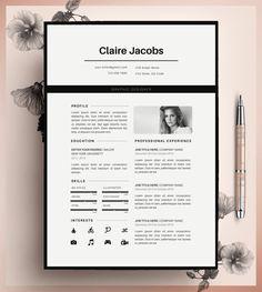 Modèle de CV créatif modèle de CV Instant par CvDesignCo sur Etsy                                                                                                                                                     Plus