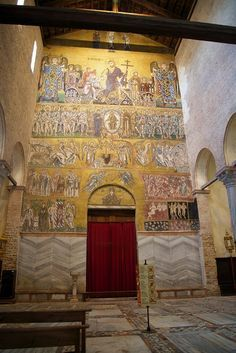 Cathedral of Santa Maria Assunta, Torcello, Venice. The most complex of these mosaics is the Last Judgement covering the majority of the wall surrounding the entrance of the Cathedral. Check out our site. http://mikestravelguide.com/things-to-do-near-venice-visit-the-island-of-torcello/