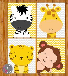 Instant Download Safari Animals Jungle Nursery Wall Art Decor Giraffe Zebra Monkey Tiger Grey Yellow Gender Neutral 8x10 Files (178)