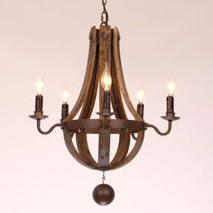 Rustic Wine Barrel Stave Reclaimed Wood & Rust Metal Chandelier with Candle Light - Chandeliers - Ceiling Lights - Lighting