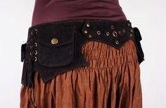 """Large Goa pocket belt (19) - black suede leather 31"""" - 36"""""""