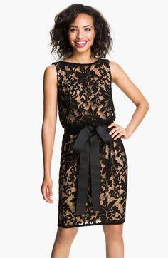 Tadashi Shoji Lace Overlay Ribbon Dress available at Nordstrom