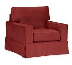 PB Comfort Square Arm Armchair Slipcover, Box Edge, Twill Sierra Red