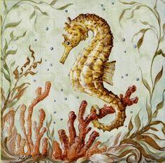 Atlantic Seahorse ~ Fine-Art Print - Seahorse Art Prints and Posters - Aquatic and Sea Life Pictures Seahorse Art, Seahorses, Illustrations, Illustration Art, Nautical Prints, Sea Life Art, China Painting, Am Meer, Sea And Ocean