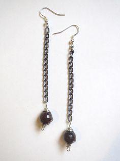 Genuine Garnet long dangle chain earrings by Emerald City Custom Jewelry.