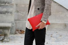 LE CATCH: the red PRADA bag!!  Red for fall....
