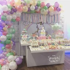 Milagros Unicorn 1st birthday party | CatchMyParty.com