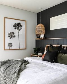 """Another amazing project by Kelly Donougher from who has tranformed this space into a coastal oasis! 🖤 """"I've loved… Black Feature Wall, Feature Wall Bedroom, Wall Art For Bedroom, Bedroom Wall Designs, Interior Design Institute, Black Walls, Black Bedroom Walls, Khaki Bedroom, Black Bedroom Design"""