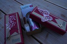 Wellnessbox in SU Farben rosenrot und sandfarbener Karton