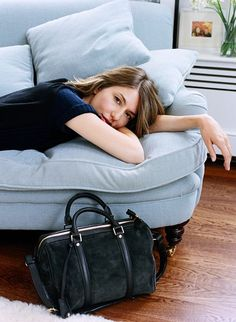 sofia coppola on her gorgeous pale blue Jules Sofa by George Smith