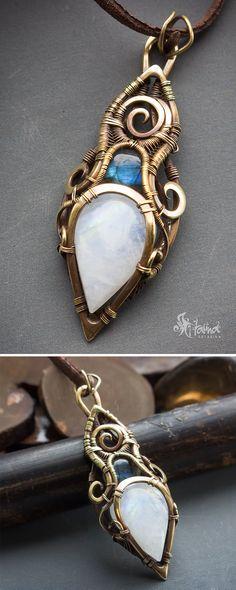 Moonstone and labradorite pendant