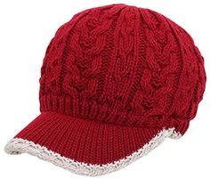 002c7d89c1f Women s Cable Knitted Double Layer Visor Beanie Hat with Tipped Line Accent  Beanies