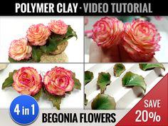 4-in-1 Video Tutorials Pack: Realistic Begonia Flowers - Earrings & Hair Clip with Begonia Flowers - Begonia Leafs - Jewelry Polymer Clay by SweetyBijou on Etsy