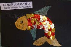 poisson avec des écailles collées sur fond noir