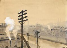 Крыша. (вид Обводного канала, Санкт-Петербург) - Лапшин Н. Ф. :: Артпоиск - русские художники