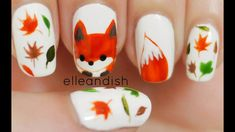 How to paint what does the fox say freehand fox nail art manicure for the fall autumn season step by step DIY tutorial instructions Autumn Nails, Fall Nail Art, Fall Nail Colors, Trendy Nails, Cute Nails, Fox Nails, Nail Art 2014, Thanksgiving Nail Art, Nagel Hacks