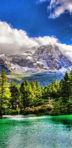 Blue Lake in Valle d'Aosta, Italy