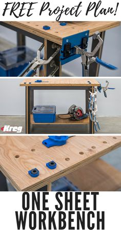 "DIY One Sheet Workbench | Creating a sturdy workbench has never been easier or more economical. This one is built from a single sheet of 3/4"" plywood that costs less than $50. Plus, the legs and rails are all cut to the same width, which is easy to do with a circular saw and saw guide. Pocket-hole screws put it all together. 