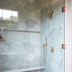 This we are embracing the HIGH impact concrete tiles can make in a shower plus those rose gold fixtures are Design/Repost: Photo: Boy Bath, Gold Shower, Shower Tile Designs, Feature Tiles, Spa Rooms, Master Shower, House Tiles, Concrete Tiles, Plumbing Fixtures