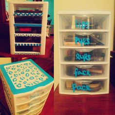 Decorated a 5-drawer Sterilite container for a sort of DIY makeup storage space :)