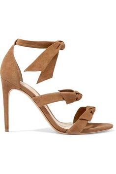 Heel measures approximately 100mm/ 4 inches Tan suede  Ties at ankle  Imported
