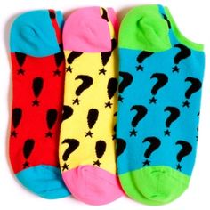 Punctuation Reversible Liner Socks   With star-studded exclamation point and question mark graphics, there's plenty of personality on these socks to keep your wardrobe rockin'. They're even reversible, so you can switch things up in a second for sweet, punchy stripes to set your sock drawer alight! #funkysocks