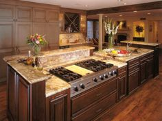 Favorite 11 Kitchen Island With Stove And Sink & Photos. Kitchen island with stove and sink. Just Another Kitchen Design Site. Kitchen Island With Stove, New Kitchen, Kitchen Dining, Kitchen Decor, Awesome Kitchen, Kitchen Cabinets, Island Stove, Kitchen Islands, Dark Cabinets