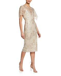 Embroidered Lace Sheath Dress by Badgley Mischka Collection at Neiman Marcus Mother In Law Dresses, Mother Of Bride Outfits, Bride Reception Dresses, New Wedding Dresses, Bride Dresses, Midi Dress With Sleeves, Lace Sheath Dress, Glamorous Evening Gowns, Evening Dresses