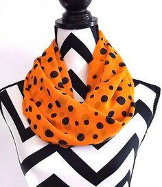 Fall Women's Accessories Orange Scarf Blue Polka by SewBirdiful, $11.99