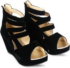 9c0caa5b8b Wedges, Lady, Stuff To Buy, Black Heels, Fashion, Moda, Black